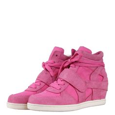 Ash C1811 Babe Girls Hi Top Low Wedge Trainers SS13 Pink/Pink from www.hypedirect.com Wedged Trainers, Sports Footwear, Low Wedges, Sneakers, Girls, Pink, Shoes, Women, Fashion