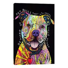 """""""Beware of Pit Bulls"""" by Dean Russo Graphic Art on Wrapped Canvas"""