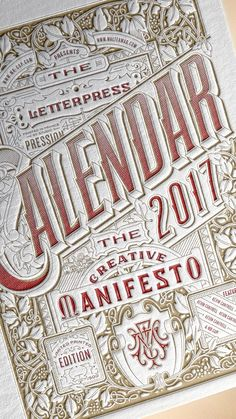 2017 LETTERPRESS CALENDAR . Limited Edition Print by Mr Cup — Kickstarter