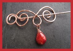 A unique design fibula in the form of rams horns, forged from solid copper wire and finished with a red coral pear drop the fibula would be great for a winter scarf, shawl or jumper. Perfect for loose woven garments T. Ram Horns, Shawl Pin, Pear Drops, Stick Pins, Beautiful Gifts, Red Coral, Copper Wire, Gifts For Friends, Brooch Pin