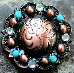 4 Conchos Rhinestone Horse Saddle Western Rodeo Bridle Tack Berry Turquoise CO96 on eBay!