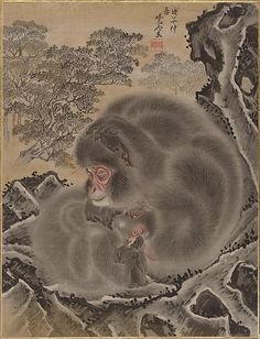 Monkeys  Kawanabe Kyôsai  (Japanese, 1831–1889)  Period: Meiji period (1868–1912) Date: 19th century Culture: Japan Medium: Album leaf; ink and color on silk Dimensions: 14 1/4 x 10 7/8 in. (36.2 x 27.6 cm) Classification: Painting