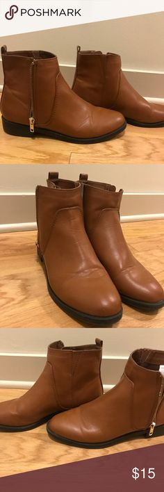 Brown Ankle Booties Such wonderful pair or brown booties  Sleek looking and clean inside and out  Well taken care of  Clean look  Matches with every outfit  Wear it in the summer and fall!! All year long! Old Navy Shoes Ankle Boots & Booties