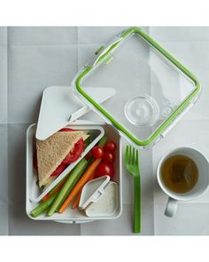A bento-style lunch container is perfect for those on-the-go! Get it here: http://www.bhg.com/shop/west-elm-black-plus-blum-stacking-bento-box-green-white-p509acc54e4b01bd07f7f1977.html?socsrc=bhgpin011713ShopLunchContainer