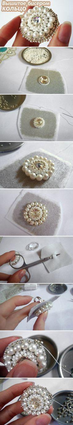 Szövetre varrt gyöngyök - Мастер-класс: Вышитое бисером и жемчугом кольцо / Beaded Ring Tutorial #diy #bead #jewelry