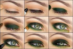 Step by step eye makeup. Golden-emerald evening eye makeup for grey eyes