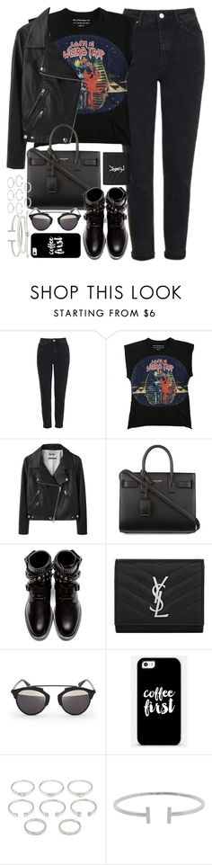 """""""Outfit with mom jeans for autumn"""" by ferned ❤ liked on Polyvore featuring Topshop, Balenciaga, Acne Studios, Yves Saint Laurent, Christian Dior, Casetify, Forever 21, Humble Chic and Monica Vinader"""