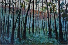 Forest Daybreak (oil on canvas) 51cm x 76cm by Malcolm Dewey Fine Art - That magical moment when the sunlight is about to break over the hills and light up the forest  #painting