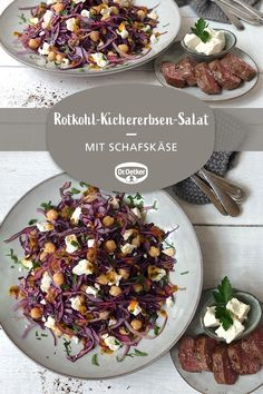 Rotkohl-Kichererbsen-Salat Red cabbage and chickpea salad: Delicious salad combination with red cabb Stay At Home Chef, Sheep Cheese, Spareribs, Interior Design Software, Chickpea Salad, Red Cabbage, Sauerkraut, How To Make Shorts, Diy Food