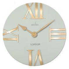 MODERN OPEN FACE CLOCK WITH GOLD ROMAN NUMBERS Silver Wall Clock, London Clock, Wall Watch, Pendulum Wall Clock, Black Clocks, Wall Clock Online, Diy Clock, Diy Wall Decor, Metal Walls