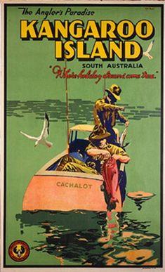 Vintage Travel Poster - Kangaroo Island - South Australia.