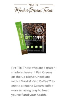 This is like The Best ? It Works Global, My It Works, Keto Coffee Recipe, Coffee Recipes, It Works Greens, It Works Marketing, Coffee Ingredients, Skinny Coffee, It Works Distributor