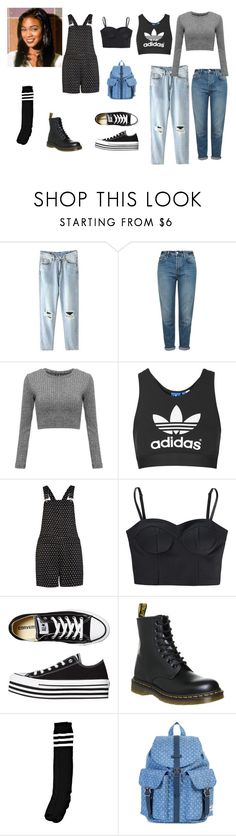 """Ashley Banks Style."" by kadiskreations ❤ liked on Polyvore featuring Topshop, River Island, adidas NEO, Converse, Dr. Martens, Herschel Supply Co., vintage, 90s and ashleybanks"