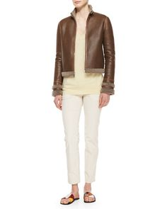 THE ROW Shearling Fur-Lined Leather Jacket, Long-Sleeve Cashmere Sweater & Norland Skinny Corduroy Pants Fall 2015