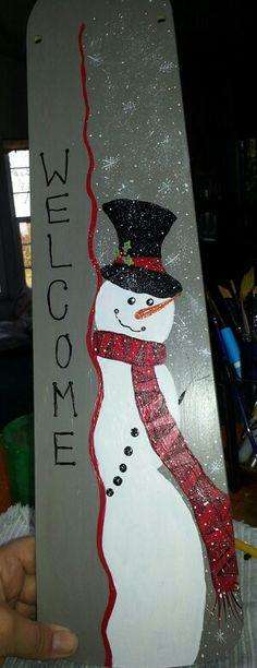 Hand painted snowman Fan blade