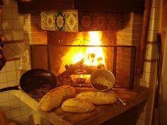 our homemade bread with natural heast  Il nostro pane fatto in casa con lievito madre  A glass of red wine and lenticchie