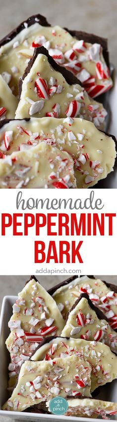 Homemade Peppermint Bark Recipe - Peppermint Bark makes a favorite holiday treat! This homemade peppermint bark recipe is made with layers of peppermint filled milk chocolate and white chocolate and then topped with peppermint candy. // addapinch.com
