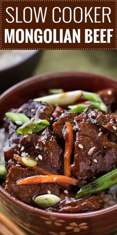 Easy Slow Cooker Mongolian Beef The easiest way you can make a Mongolian beef recipe! The beef gets meltingly tender in the slow cooker and the sauce becomes incredibly silky, with great spicy/sweet flavors! Crockpot Steak Recipes, Crockpot Dishes, Beef Dishes, Slow Cooker Recipes, Cooking Recipes, Crock Pot Recipes, Flank Steak Recipes, Stewing Beef Recipes, Beef Chuck Recipes