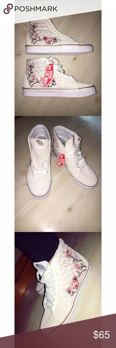 NWT Vans rose print high tops Brand new, never worn and includes box. These are so adorable but run large. I'm typically a 7 1/2-8 and these definitely run big. I would say they fit a wide 8 or even 8 1/2. Listed as men's 6 women's 7 1/2. Off white suede with canvas on the side where the rose print is. Thank you for looking! Vans Shoes Sneakers