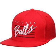 58641d725fc Chicago Bulls Mitchell  amp  Ness Red Hardwood Classics Cursive Retro  Snapback Hat