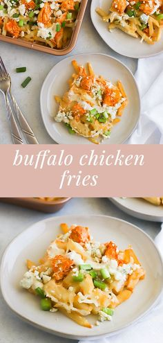 These buffalo chicken fries are spicy, cheesy, and the perfect game day appetizer! Loaded with chicken, ranch, and blue cheese topped with homemade buffalo sauce, they will be a favorite your guests ask for again and again. #buffalosauce #fries #partyfood #gameday