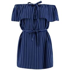 Boohoo Daria Pinstripe Off The Shoulder Dress ($26) ❤ liked on Polyvore featuring dresses, blue bodycon dress, off shoulder evening dress, waist belt, cocktail dresses and holiday dresses