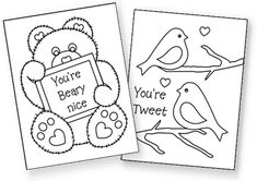 Free printable Valentine's cards to color! Very cute!