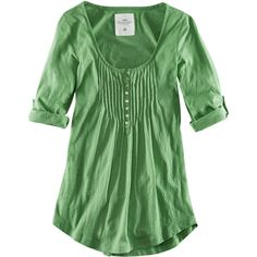 H&M Top ($20) ❤ liked on Polyvore featuring tops, blouses, shirts, green, women, shirts & tops, green top, 3/4 length sleeve shirts, h&m and h&m shirts