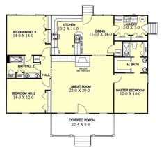 southern style house plan 3 beds 2 baths 1700 sqft plan 44 - Rectangle House Plans