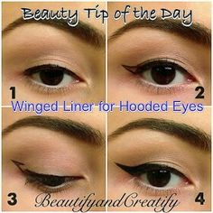 Making a perfect cat eye with liquid eye liner