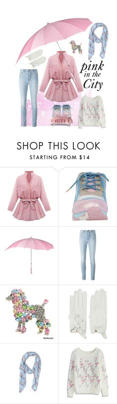 """""""Pink in the City"""" by kleasterling ❤ liked on Polyvore featuring Irregular Choice, Causse, J.Crew, Chicwish, Pink, pinkandblue, colorscheme and pinkcoat"""