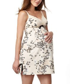 Cream Butterfly Print Silhouette Maternity & Nursing Nightgown