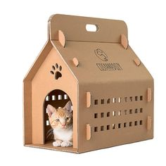 "Our lightweight and collapsible CATVENTURE is much more than a cardboard cat house. It is an economical and environmentally friendly solution to transport your kitty. It is super comfy for your pet thanks to plenty of ventilation. Four removable doors are included in the set. For transport you can use the ""full"" doors. If you want your furry friend to play with it you can change to doors so that your he/she can easily get in and get out of it. You can also use it as a dolls house, you can…"