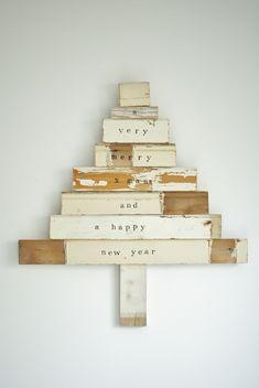Christmas Trees - Wood & Wool Stool