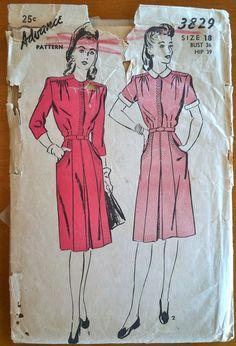 1940's Advance Women's Shirtwaist Dress - Bust 36 - no. 3829