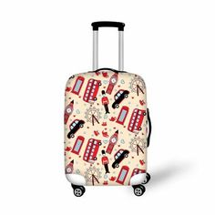 FANTAZIO Flamingos Gold Polka Dot Stripes Suitcase Protective Cover Luggage Cover