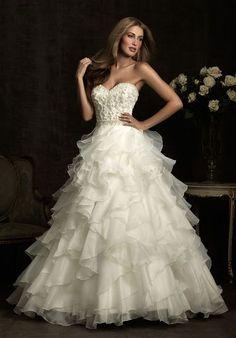 Crystals Chapel Train Applique Sweetheart Organza Ball Gown Wedding Dress#GRE3560