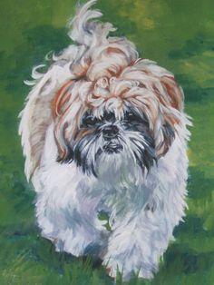 Shih Tzu art print CANVAS print of LA Shepard painting 8x10 dog art