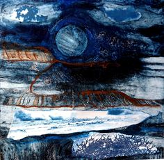 """Cape Cornwall"" a collagraph print by Ruth McDonald www.ruthmcdonald.co"