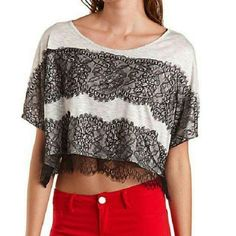 Lace Striped Crop Top Wide cut black lace and gray stripe crop top. Charlotte Russe Tops Crop Tops