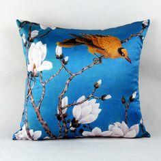 White Magnolia flower throw pillow Chinoiserie blue sofa cushions
