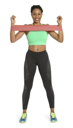Works chest, back, and armsStanding with feet hip-distance apart, loop band around wrists, then raise elbows to just below shoulder height and bend arms 90 degrees. Spread arms into goalpost position (as shown). Hold for one count, then bring arms back to shoulder-width apart for one rep. Repeat 12 times. And pay attention to your posture: Drop shoulders down and squeeze shoulder blades together.
