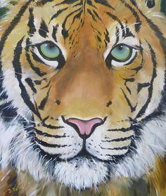 """Balendin""  Acrylic painting of tiger by Deborah Fallas"