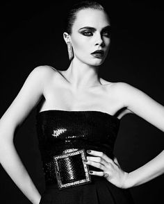 Cara Delevingne by Hedi Slimane for Saint Laurent Spring 2016 Couture Ad Campaign