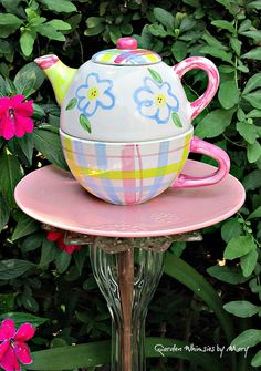 Floral Teapot Garden Totem Stake by GardenWhimsiesByMary on Etsy