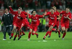 We've done it! Liverpool celebrate the moment that the 2005 Champions League was won