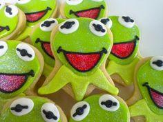Kermit Cookies~ inspired Sugar Cookies 1 Dozen by acookiejar on Etsy, Green Muppet Frog Cookies, Sugar Cookies, First Birthday Parties, First Birthdays, 3rd Birthday, Cookie Decorating, Decorating Cakes, Cartoon Cookie, Disney Cookies