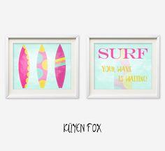 Surf wall art  surf nursery art  kids wall art  by KuyenFox