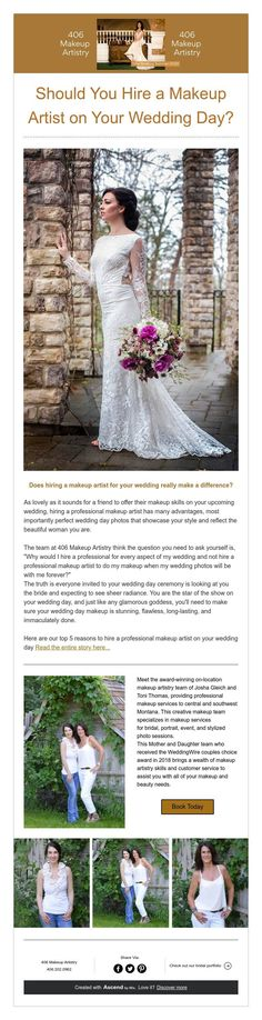 Should You Hire a Makeup Artist on Your Wedding Day? Wedding Day Makeup, On Your Wedding Day, Perfect Wedding, Makeup Artistry, Professional Makeup Artist, Wedding Photos, Glamour, Invitations, Bride