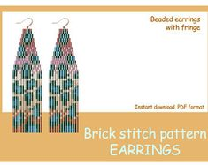 Check out our animal print peyote earring patterns selection for the very best in unique or custom, handmade pieces from our shops. Beaded Earrings Patterns, Bead Loom Patterns, Mosaic Patterns, Beading Patterns, Stitch Patterns, Color Patterns, Embroidery Patterns, Brick Stitch, Bead Earrings